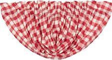 "60"" W Red & White Buffalo Check Balloon Window Valance Country Farmhouse Annie"