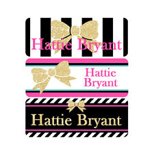 School Name Labels, Waterproof, Daycare Labels, Camp, Pink, Black, Gold, Bow