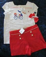Nwt 10 Janie and Jack Monte Carlo Girl Bicycle Flower Shirt Shorts Hair bow