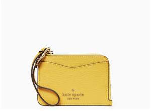 Kate Spade Leila Leather Small Card Key ID Wristlet Wallet Zip Sunflower Field