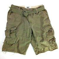 Vintage Brass Size 33 Men's Cargo Shorts Cotton Zipper Flat Front Pockets Green