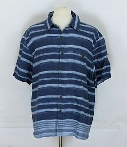 The Territory Ahead Men's 100% Linen Button Shirt Striped Short Sleeve Size XL