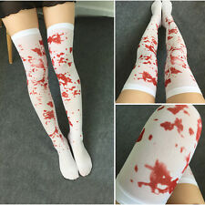 White Bloody Blood Stained Hold Up Stockings Socks Halloween Zombie Fancy Dress#