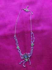 Necklace, Pendant, Silver Tone Chain, Diamante, Aquamarine Stones, UK Seller