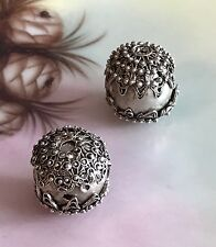 Antique Yemenite Silver Spacer Beads With Filigree Silver Bead Caps -- 18 mm