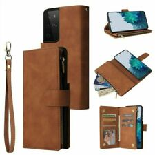For Samsung Galaxy S21 Plus Wallet Card Case S21 Ultra Zipper stand Flip Leather