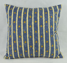 """CUSHION COVER 16""""x16"""" 41cm sq Andrew Martin Riverpoint Blue Stripe Gold Stars"""