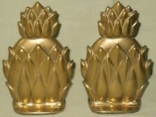 CONTEMPORARY SOLID BRASS PINEAPPLE BOOKENDS WELCOME