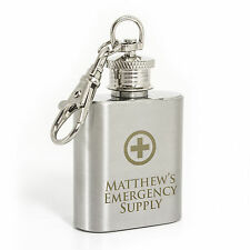 Personalised Engraved Emergency Supply 1oz Stainless Steel  Hip Flask Keyring