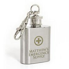 Personalised Engraved Emergency Supply 1oz Stainless Steel  Hip Flask Keyring