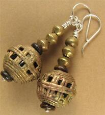 Large African bead earrings. Copper / brass. Sterling silver. Handmade.