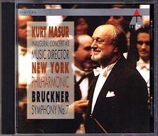 Kurt MASUR: BRUCKNER Symphony No.7 New York Philharmonic 1991 Live CD Sinfonie