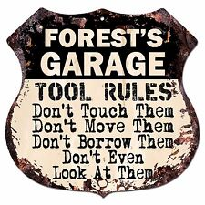BPG0817 FOREST'S GARAGE TOOL RULES Rustic Shield Sign Man Cave Decor Gift