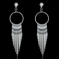 Wholesale Vintage 18K White Gold Plated Round Tassel Dangly Pin Earring