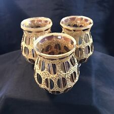 """Art Glass Gold Lamp Fitters Shades 4"""" Tall Set of 3"""