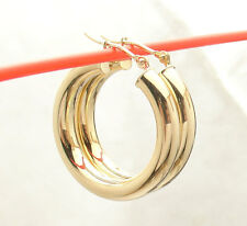 "4mm X 25mm 1"" All Shiny Round Hoop Earrings Real 14K Yellow Gold FREE SHIPPING"