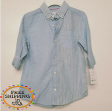 carter's boys shirts, size 7 baby blue, 100% cotton, striped