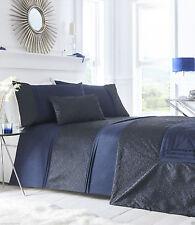 Letto Matrimoniale Copripiumino Set Lavelle Indigo Blu Scuro Royal Blue Crinkle bordo Biancheria Da Letto
