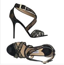 JIMMY CHOO  Black Lace Patent Leather Lottie wide strap crossover sandal SZ 38