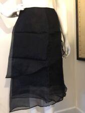 BCBG Maxazria Skirt 100% Silk Partially Sheer Black Tiered Lined Skirt Size 6