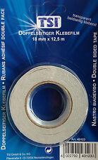 doppelseitiges Klebeband TRANSPARENT 12,5m x 18mm Klebestreifen klar Klebefolie