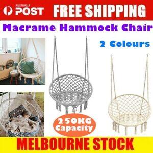 AU Hammock Chair Macrame Cotton Swing Bed Relax Outdoor Hanging Indoor 4 Color