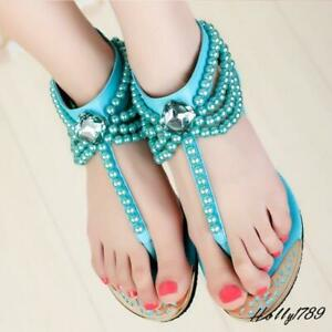 Roman Womens summer T-Strap Pearls Rhinestone Sandals Flats Casual Shoes