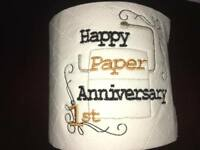 'Happy Paper Anniversary' Novelty Embroidered toilet roll **ideal gift**