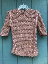 Vintage Pink & Gold Knit Woven Sweater 1950's Era Women's Medium No Tags