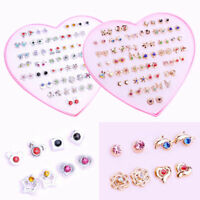 36 Pairs Fashion Women Earrings Set Rhinestone Crystal Flower Ear Stud Jewelry