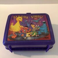 Vintage Sesame Street Lunch Box by Aladdin - Purple Plastic - Includes Thermos