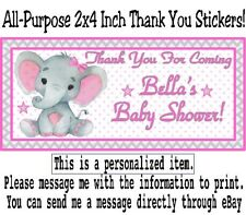 20 Elephant Baby Shower Birthday Party Thank You Stickers Labels Pink Gray Girl