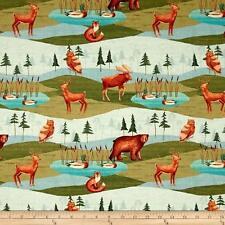 Fabric Baby Deer Fox Moose Bear Ducks on Cotton 1/4 Yard