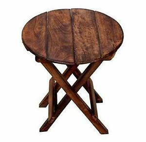 Indian Handmade Beautiful Wooden Folding Side Table Round Shape For Living Room