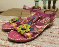 L'Artiste by Spring Step Purple  Floral Poolside  Tooled Leather Sandals Eu 36