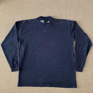 Vintage Adidas Mock Neck Long Sleeve Shirt Navy Blue Logo Mens L Large