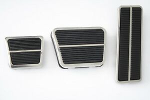 71-72 Chevy C10 Truck Deluxe Gas, Brake & Emergency Pedal Pads w/Stainless Trim