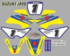 Suzuki JR50 Graphics Decals Full set laminated stickers motocross FREE NAME AND