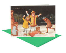 25 Children Playing Snowball Christmas Gift Card with Green Envelopes XG0007