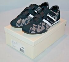 Coach Women's Velcro Criss Cross Jenney Sneakers Black/White NWB