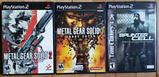 METAL GEAR SOLID 2 & 3, SPLINTER CELL complete mint PS2 games + guides