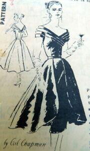 RARE VTG 1950s EVENING DRESS CEIL CHAPMAN SPADEA Sewing Pattern 14/36.5