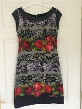 DESIGUAL BLACK FLORAL LACE PRINT SHORT SLEEVED DRESS SMALL