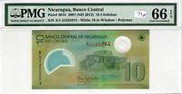 Nicaragua PMG Certified Banknote 2007 10 Cordobas Gem UNC 66 EPQ Polymer 201b