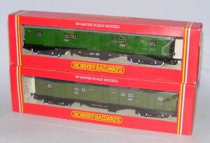 HORNBY OO GAUGE 2 x SOUTHERN RAILWAY BOGIE LUGGAGE VAN R174 + R178 MINT BOXED