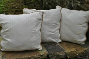 Set of 3 Ralph Lauren Cream and Tan Throw Pillows with Inserts