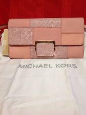 MK Large Cynthia Clutch Embossed Leather Pale Pink Convertible Bag $228