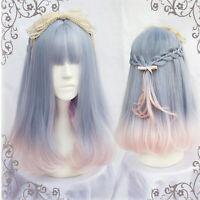 Harajuku Lolita Sweet Cosplay Wig Hair Girl Bob Blue Mixed Pink Medium Party Wig