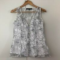 Very Very Womens Top Size 8 White Black Sheer Floral Sleeveless
