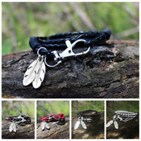 New Wrap Braided Wristband Cuff Punk Men Women Bracelet Bangle Leather Jewelry